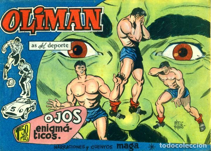 Tebeos: OLIMAN (MAGA, 1961) COLECCIÓN COMPLETA: 105 EJEMPLARES MÁS EL ÁLBUM DE LA SELECCIÓN ESPAÑOLA - Foto 6 - 192234647