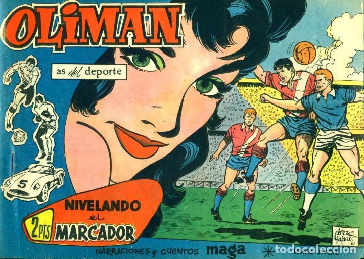 Tebeos: OLIMAN (MAGA, 1961) COLECCIÓN COMPLETA: 105 EJEMPLARES MÁS EL ÁLBUM DE LA SELECCIÓN ESPAÑOLA - Foto 10 - 192234647