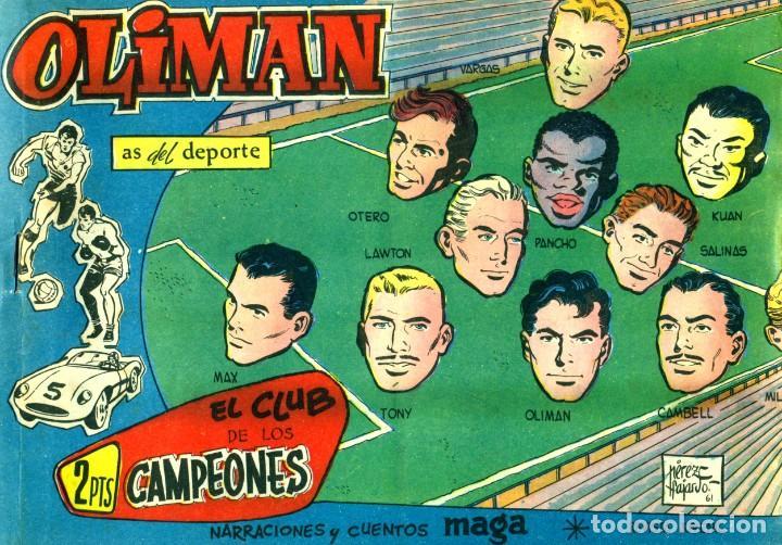 Tebeos: OLIMAN (MAGA, 1961) COLECCIÓN COMPLETA: 105 EJEMPLARES MÁS EL ÁLBUM DE LA SELECCIÓN ESPAÑOLA - Foto 11 - 192234647