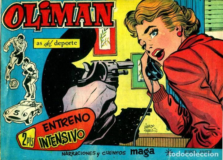 Tebeos: OLIMAN (MAGA, 1961) COLECCIÓN COMPLETA: 105 EJEMPLARES MÁS EL ÁLBUM DE LA SELECCIÓN ESPAÑOLA - Foto 14 - 192234647