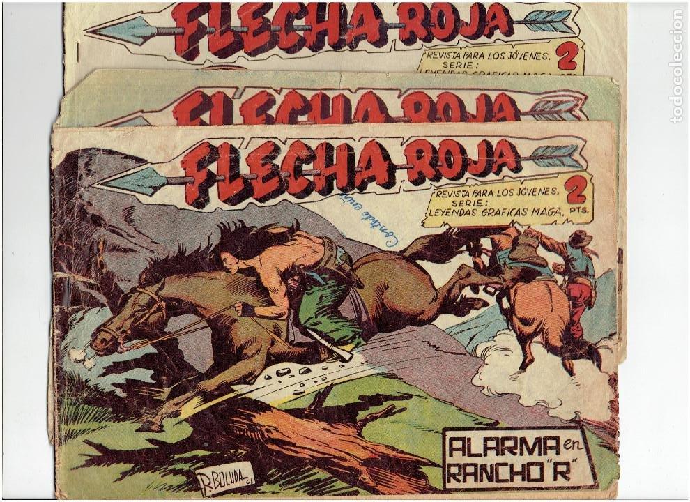 * FLECHA ROJA. Nº 22, 50, 65, * ORIGINALES *EDITORIAL MAGA, 1962.* (Tebeos y Comics - Maga - Flecha Roja)