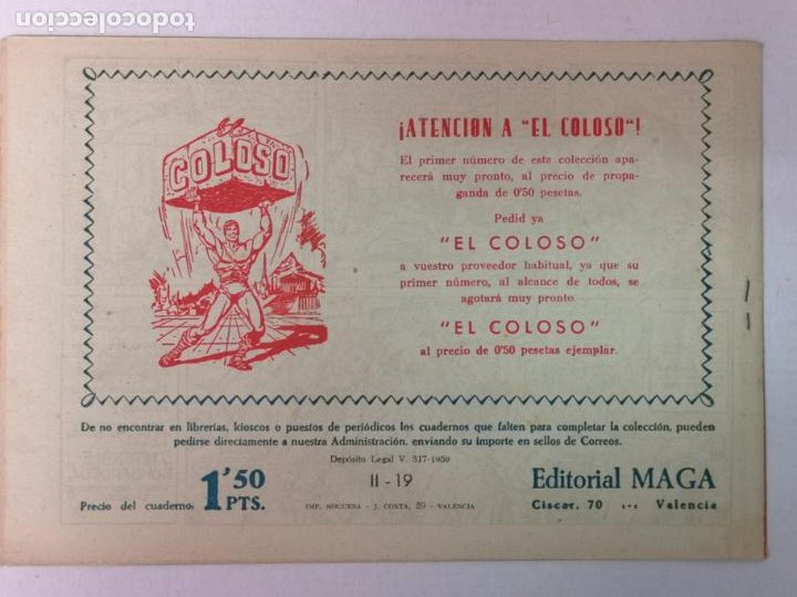 Tebeos: BENGALA 2°PARTE N°19 EDT. MAGA 1960 - Foto 2 - 216703660