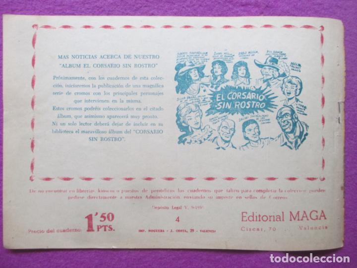 Tebeos: TEBEO EL CORSARIO SIN ROSTRO SERIE DUQUE NEGRO EL ASALTO PIRATA 1959 Nº4 ED. MAGA ORIGINAL - Foto 2 - 218678963