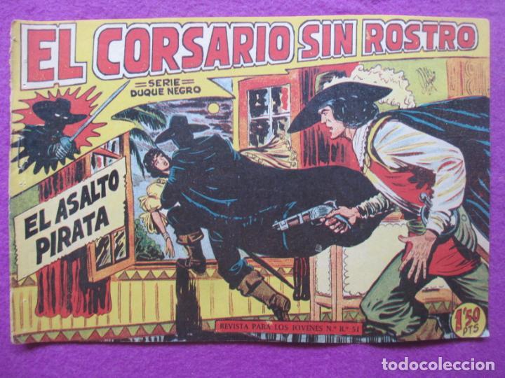 TEBEO EL CORSARIO SIN ROSTRO SERIE DUQUE NEGRO EL ASALTO PIRATA 1959 Nº4 ED. MAGA ORIGINAL (Tebeos y Comics - Maga - Otros)