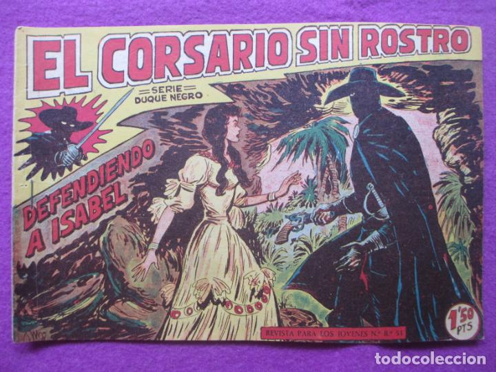 TEBEO EL CORSARIO SIN ROSTRO SERIE DUQUE NEGRO DEFENDIENDO A ISABEL 1958 Nº5 ED. MAGA ORIGINAL (Tebeos y Comics - Maga - Otros)
