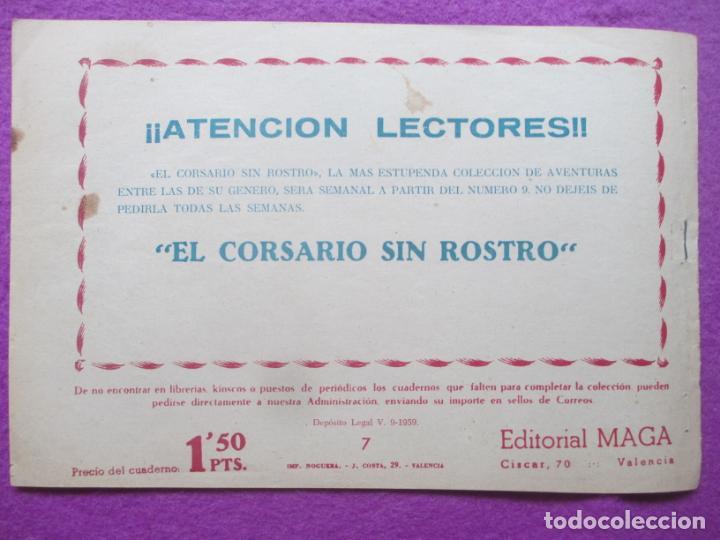 Tebeos: TEBEO EL CORSARIO SIN ROSTRO SERIE DUQUE NEGRO MORGAN EL PIRATA 1959 Nº7 ED. MAGA ORIGINAL - Foto 2 - 218679432