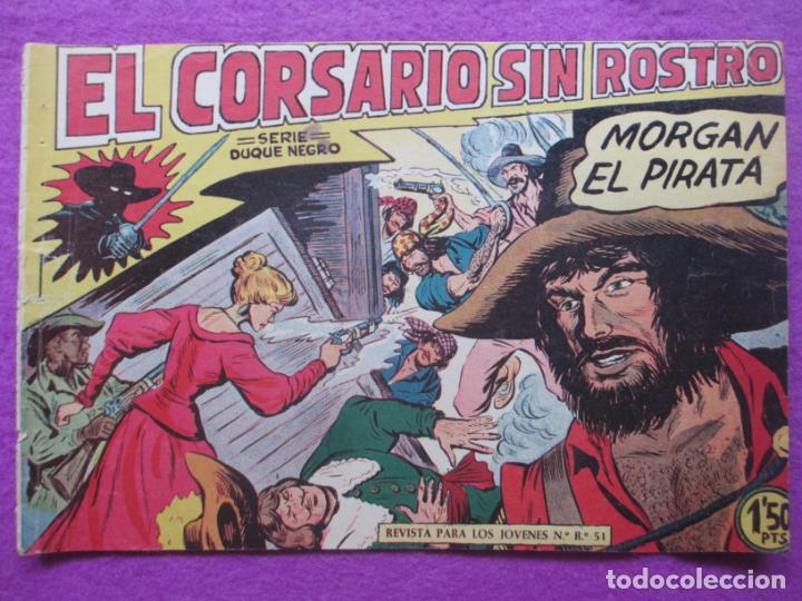TEBEO EL CORSARIO SIN ROSTRO SERIE DUQUE NEGRO MORGAN EL PIRATA 1959 Nº7 ED. MAGA ORIGINAL (Tebeos y Comics - Maga - Otros)