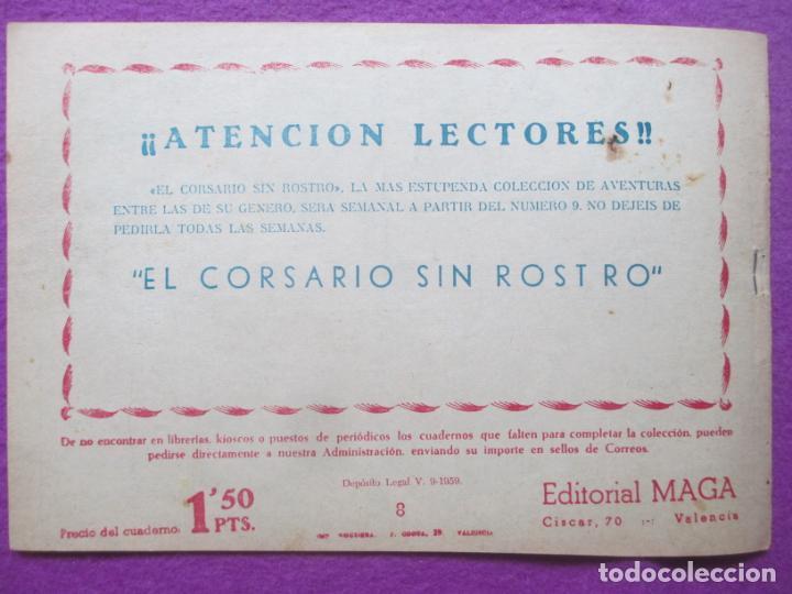 Tebeos: TEBEO EL CORSARIO SIN ROSTRO SERIE DUQUE NEGRO LA DERROTA DE LOS PIRATA 1959 Nº8 ED. MAGA ORIGINAL - Foto 2 - 218679578