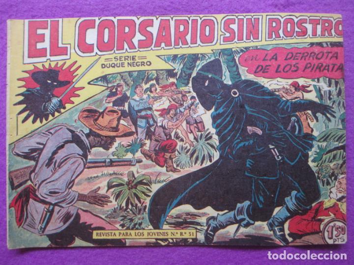 TEBEO EL CORSARIO SIN ROSTRO SERIE DUQUE NEGRO LA DERROTA DE LOS PIRATA 1959 Nº8 ED. MAGA ORIGINAL (Tebeos y Comics - Maga - Otros)