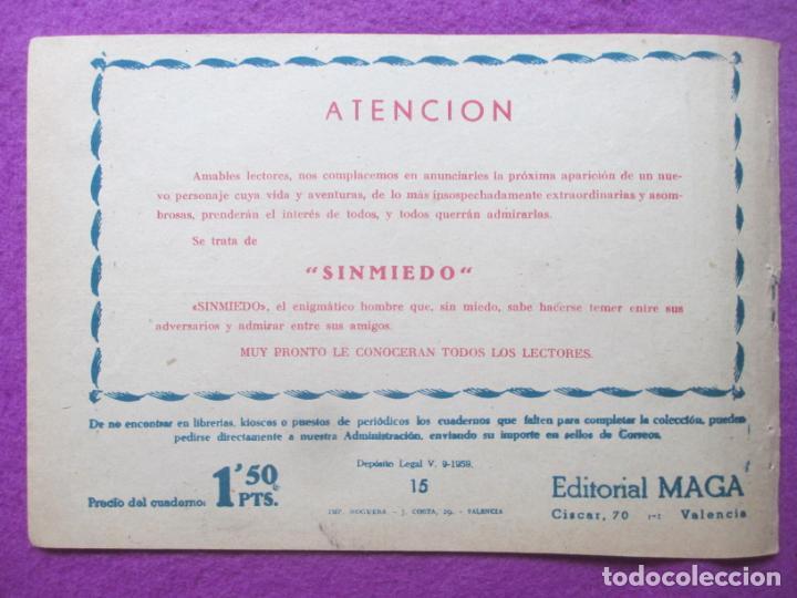 Tebeos: TEBEO EL CORSARIO SIN ROSTRO SERIE DUQUE NEGRO ¡RESCATADA! 1959 Nº15 ED. MAGA ORIGINAL - Foto 2 - 218679946