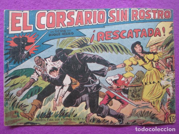 TEBEO EL CORSARIO SIN ROSTRO SERIE DUQUE NEGRO ¡RESCATADA! 1959 Nº15 ED. MAGA ORIGINAL (Tebeos y Comics - Maga - Otros)
