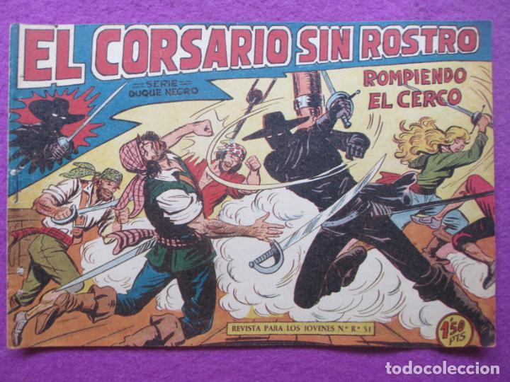TEBEO EL CORSARIO SIN ROSTRO SERIE DUQUE NEGRO ROMPIENDO EL CERCO 1959 Nº16 ED. MAGA ORIGINAL (Tebeos y Comics - Maga - Otros)