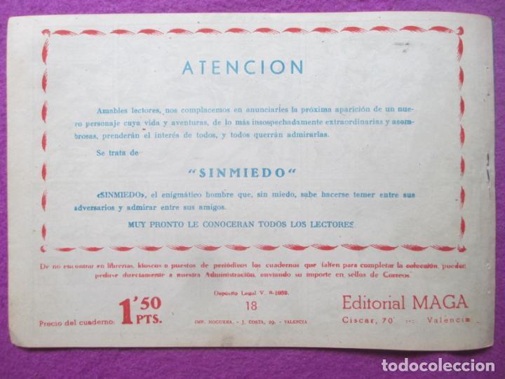 Tebeos: TEBEO EL CORSARIO SIN ROSTRO SERIE DUQUE NEGRO EL FIN DE UN PIRATA 1959 Nº18 ED. MAGA ORIGINAL - Foto 2 - 218680383