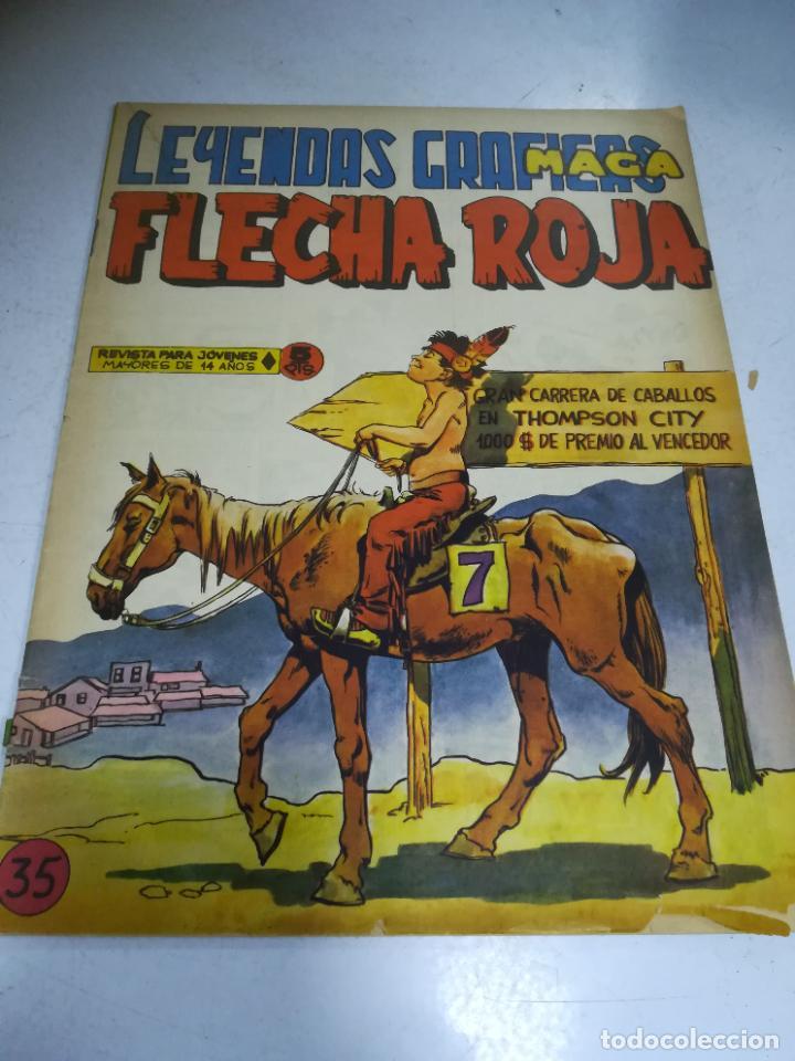 TEBEO. EDITORIAL MAGA. LEYENDAS GRÁFICAS. FLECHA ROJA. Nº 35. VER FOTOS (Tebeos y Comics - Maga - Flecha Roja)