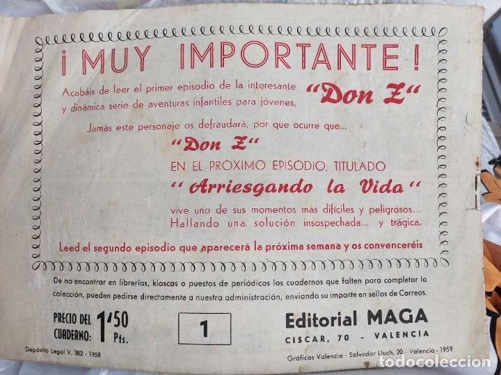 Tebeos: Don Z - Nº 1 - Editorial Maga 1959. ORIGINAL. 1820 CUANDO CALIFORNIA ERA ESTADO DE MEJICO - Foto 2 - 273269883