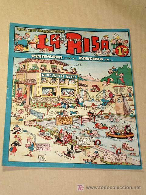 LA RISA, 2ª ÉPOCA, Nº 9, VERANEARÁ Y NO SE CANSARÁ EN. EDITORIAL MARCO, 1952. CON DIORAMA Y CROMO. + (Tebeos y Comics - Marco - La Risa)
