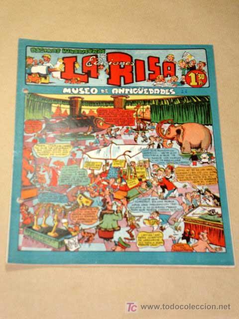 LA RISA, 2ª ÉPOCA, Nº 22, MUSEO DE ANTIGÜEDADES. EDITORIAL MARCO, 1953. CON DIORAMA Y CROMO FÚTBOL.+ (Tebeos y Comics - Marco - La Risa)