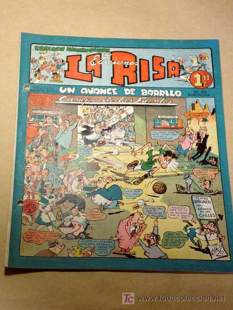 LA RISA, 2ª ÉPOCA, Nº 28, UN AVANCE DE BARRILO. EDITORIAL MARCO, 1953. CON DIORAMA Y CROMO FÚTBOL.++ (Tebeos y Comics - Marco - La Risa)