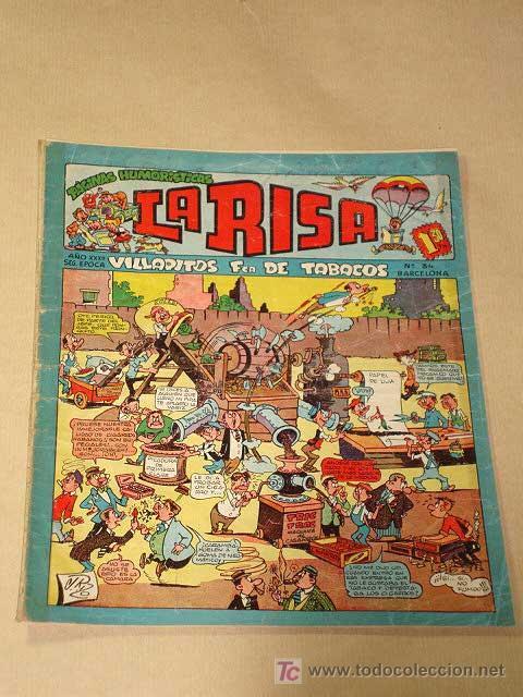 LA RISA, 2ª ÉPOCA, Nº 34, VILLAPITOS FABRICA DE TABACOS. EDITORIAL MARCO, 1953. CON DIORAMA Y CROMO (Tebeos y Comics - Marco - La Risa)