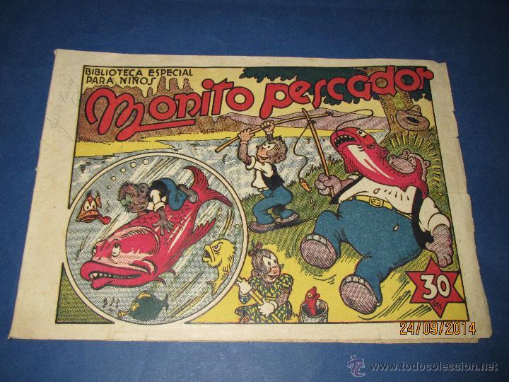 BIBLIOTECA ESPECIAL PARA NIÑOS * MONITO PESCADOR * DE LA EDITORIAL MARCO - AÑO 1940S. (Tebeos y Comics - Marco - Hipo (Biblioteca especial))