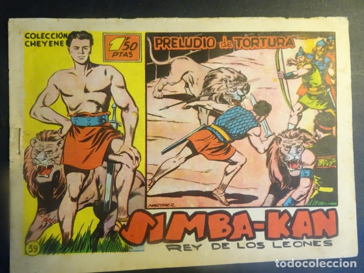 ANTIGUO COMIC SIMBA-KAN REY DE LOS LEONES Nº 39 COLECCION CHEYENE MARCO 1959, VER FOTOS (Tebeos y Comics - Marco - Otros)