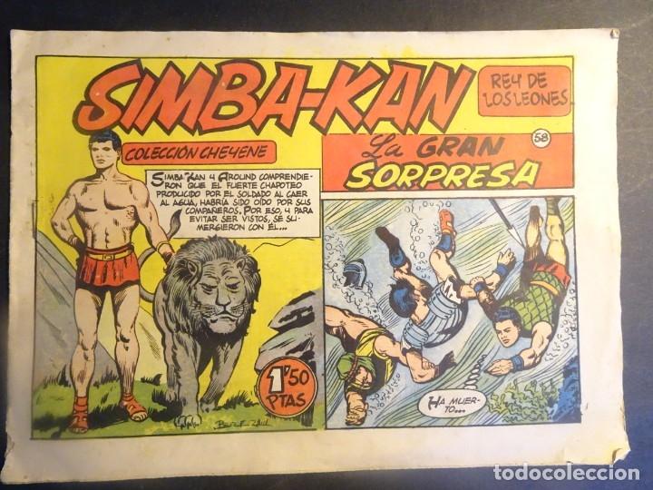 ANTIGUO COMIC SIMBA-KAN REY DE LOS LEONES Nº 58 COLECCION CHEYENE MARCO 1959, VER FOTOS (Tebeos y Comics - Marco - Otros)