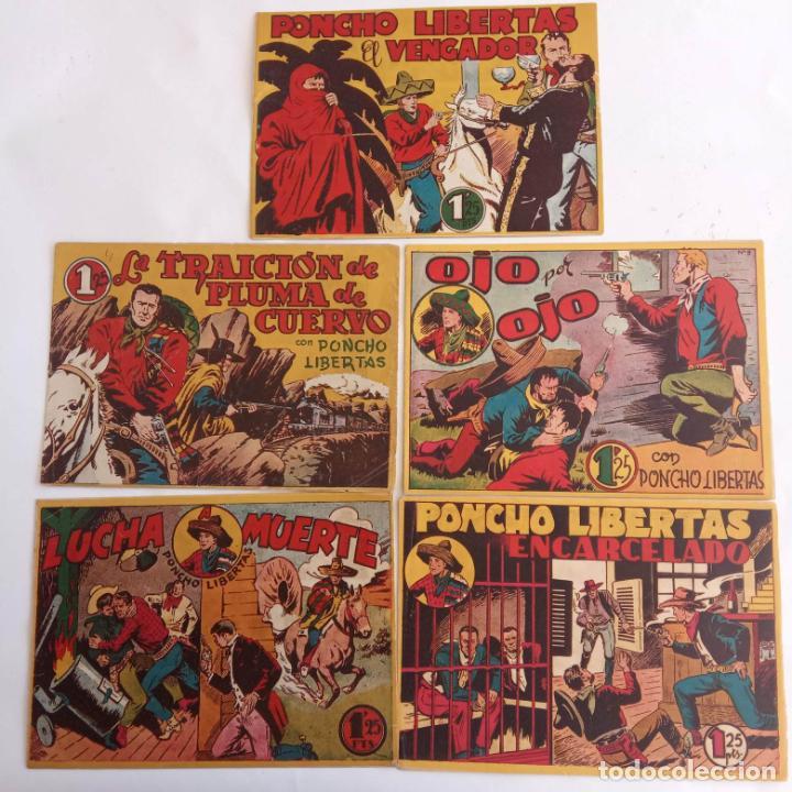 PONCHO LIBERTAS ORIGINALES NºS - 4,6,9,11,12 ÚLTIMO - EDI. MARCO 1945, MUY BUEN ESTADO, LE RALLIC (Tebeos y Comics - Marco - Otros)