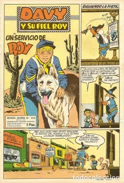 DAVY Y SU FIEL ROY- Nº 334 - UN SERVICIO DE ROY- 1967-GRAN RIBA COMPTE-ÚNICO EN TC-BUENO-LEAN-4339 (Tebeos y Comics - Marco - Rin-Tin-Tin)