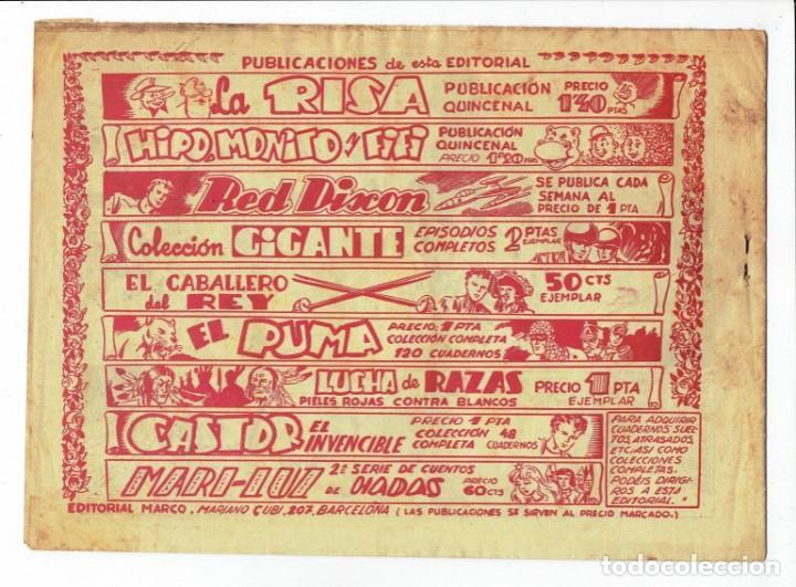 Tebeos: RED DIXON Nº 63 - LOS DESESPERADOS DE MANG - EDITORIAL MARCO 1955 - 1 PTA. - Foto 2 - 287397793