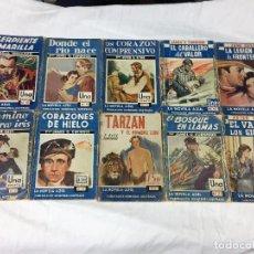 Giornalini: 10 LIBROS LA NOVELA AZUL - EL BOSQUE EN LLAMAS - EL VALLE DE LOS GIGANTES-TARZÁN Y EL HOMBRE LEÓN.... Lote 95414787