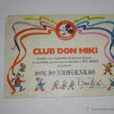 Tebeos: DIPLOMA DE SOCIO NUMERARIO DEL CLUB DON MIKI. Lote 42228496