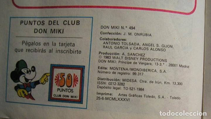 Tebeos: SEMANARIO JUVENIL DON MIKI Nº 494 WALT DISNEY MONTENA AÑO 1986 90 PESETAS - Foto 4 - 147629286