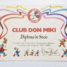 Tebeos: CERTIFICADO O DIPLOMA DE SOCIO CLUB DON MIKI 1976. Lote 189984755