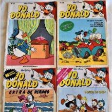 Tebeos: YO, DONALD Nº 16, 29, 34 Y 38 - WALT DISNEY - AÑO 1986 - TAPA BLANDA. Lote 195716215