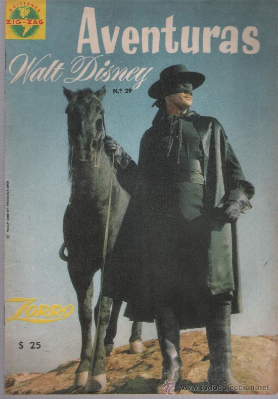 AVENTURAS WALT DISNEY ZORRO Nº 29. EDITORIAL ZIG ZAG - CHILE 1964. (Tebeos y Comics - Novaro - Aventura)