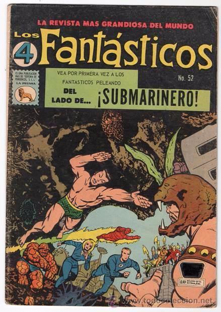 LOS 4 FANTASTICOS # 52 LA PRENSA 1965 KIRBY STAN LEE 1ER APARICION DE ATTUMA SUBMARINERO NAMOR EXCEL (Tebeos y Comics - Novaro - Sci-Fi)