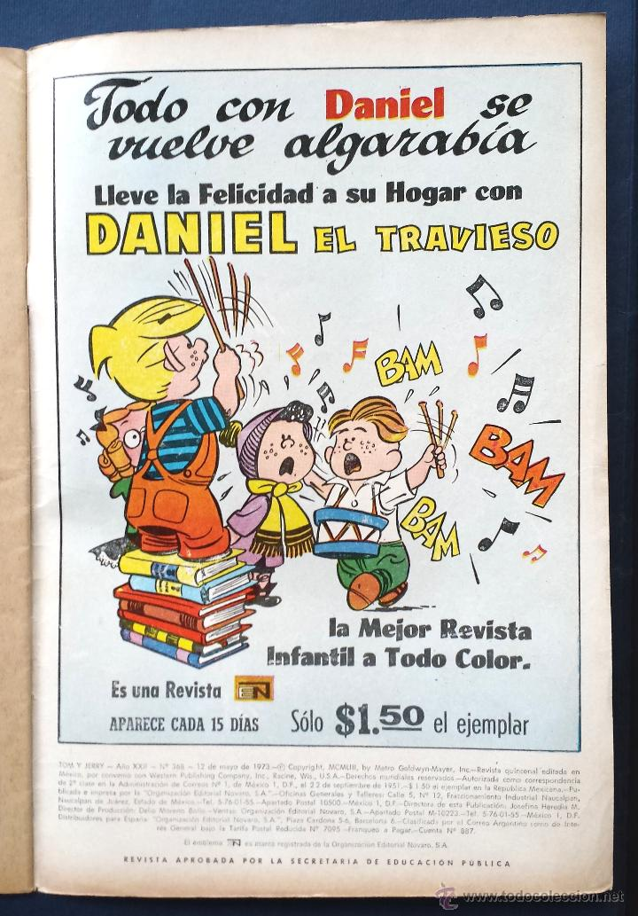 Tebeos: TOM Y JERRY nº 368 Revista Infantil Editorial Novaro 1972 Contraportada Daniel el Travieso Años 70 - Foto 2 - 54008078