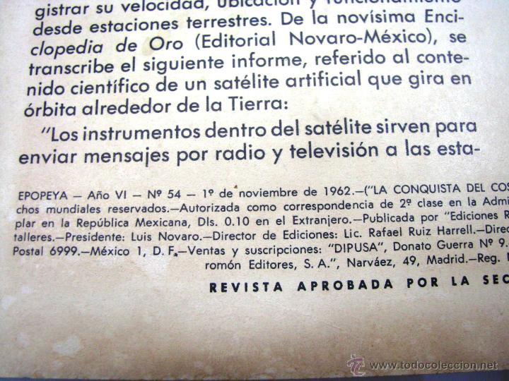 Tebeos: ANTIGUA REVISTA EPOPEYA LA CONQUISTA DEL COSMOS ER NOVARO MEXICO AÑO 1962 - Foto 5 - 54787108