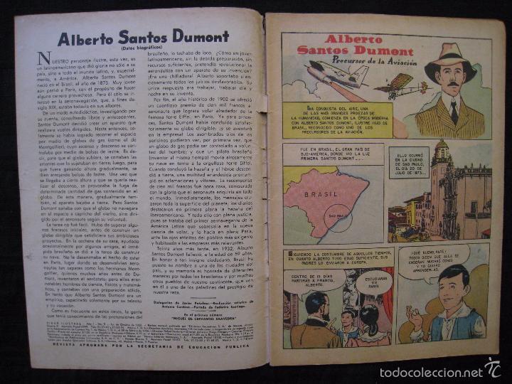 Tebeos: VIDAS ILUSTRES - Nº 9 - ALBERTO SANTOS DUMONT, PRECURSOR DE LA AVIACION - ED, NOVARO 1956. - Foto 4 - 56028055