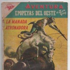 Tebeos: AVENTURA # 65 NOVARO 1957 EPOPEYAS DEL OESTE POR ZANE GREY LA MANADA ATRONADORA CON DETALLES. Lote 64110427