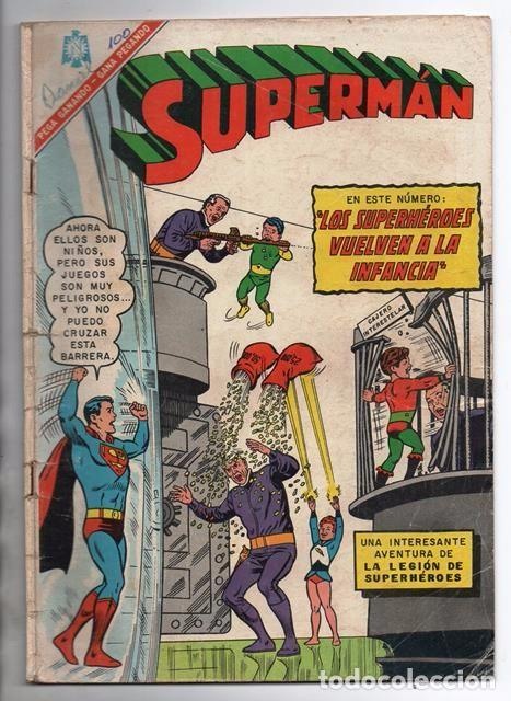 SUPERMAN # 569 LEGION DE SUPERHEROES NOVARO 1966 BRAINIAC CAMALEON ELEMENTO INVISIBLE CENTELLA ASTRO (Tebeos y Comics - Novaro - Superman)
