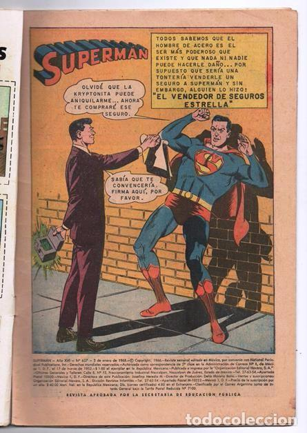 Tebeos: SUPERMAN # 637 NOVARO 1968 SUPERNIÑA EL DOBLE DE SUPERMAN BUEN ESTADO - Foto 2 - 93787895