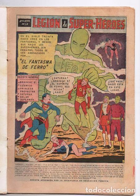 Tebeos: SUPERMAN # 652 NOVARO LEGION DE SUPER-HEROES 1968 EL FANTASMA DE FERRO BRAINIAC 5 COSMICO SATURNA - Foto 2 - 93791975