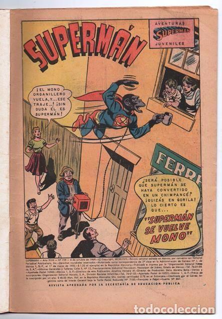 Tebeos: SUPERMAN # 729 NOVARO 1969 SUPERMAN SE VUELVE MONO EL CHICO MAS TIMIDO DE LA CIUDAD BUEN ESTADO - Foto 2 - 93809710