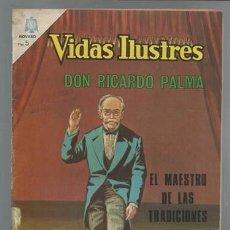 Giornalini: VIDAS ILUSTRES 130: DON RICARDO PALMA, EL MAESTRO DE LAS TRADICIONES, 1966, NOVARO. Lote 93870480