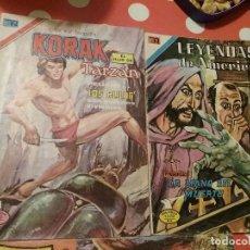 Tebeos: 2 COMIC EDITORIAL NOVARO. LEYENDAS DE AMÉRICA Y KORAK EL HIJO DE TARZAN MAS 1 COMIC DE REGALO. Lote 110259115