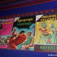 Tebeos: NOVARO EPOPEYA 52 EL SIGLO DE PERICLES, MUJERES CÉLEBRES 38 NEFERTITI, AVENTURA 481 BONANZA. BE.. Lote 129295951