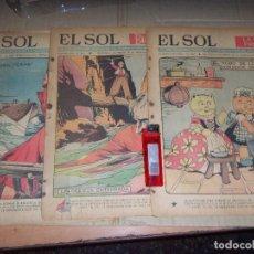 Tebeos: SOL 3 NUMEROS DE 1940 SUPLEMENTO DEL PERIODICO COLOR. Lote 134247722