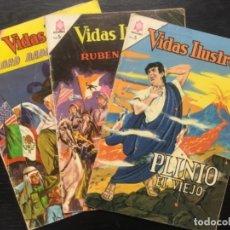 Tebeos: LOTE 3 NOVARO, VIDAS ILUSTRES, PLINIO, RUBEN DARIO Y LORD BADEN POWELL. Lote 139523966