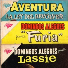 Tebeos: LOTE DE 3 NOVARO : LASSIE 450 (1962), FURIA 391 (1961) Y LA LEY DEL REVOLVER 214 (1962) - VER FOTOS. Lote 143007538